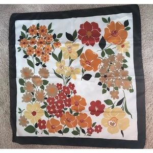 Bold Fall Colored Vintage Floral Scarf